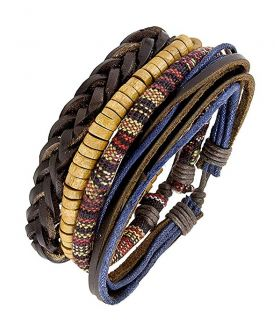 Leather Dyed Rope Multi Strand Wrist Bracelet